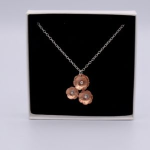 three copper flowers necklace