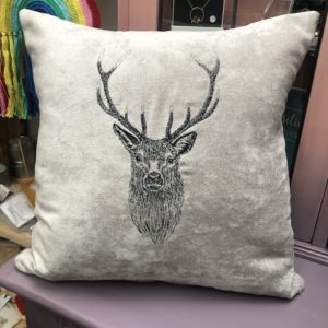 embroidery stag cushion