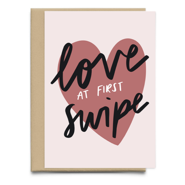 love at first swipe valentines card