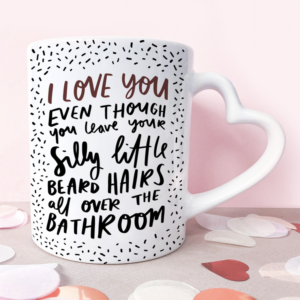 Funny Beard Hairs 11oz Ceramic Mug With Heart Handle - Funny Valentine's Day Gift For Him Boyfriend